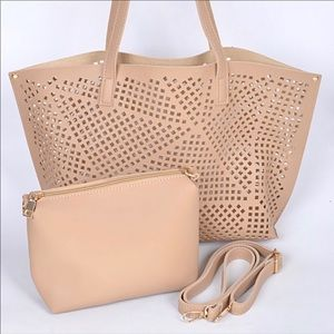 Beige Laser Cut Tote With Pouch